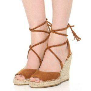 JOIE Phyllis Tan Suede Espadrille Wedge Sandals S6